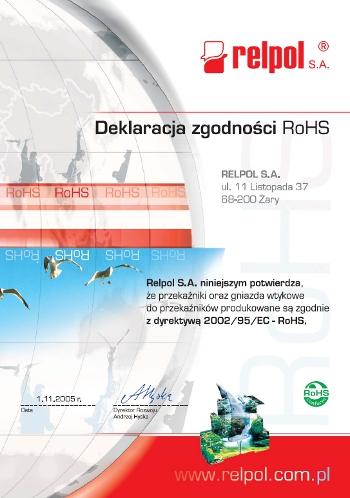 Deklaracja RoHS - Przekaźniki, gniazda wtykowe Relpol