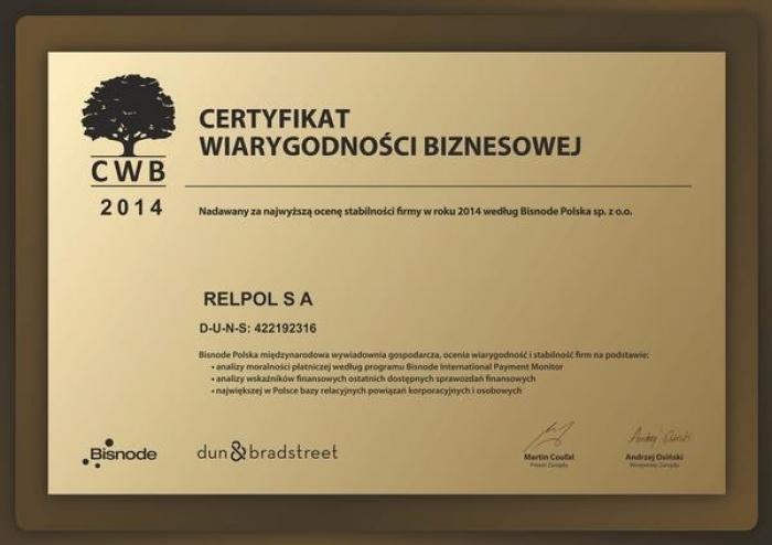 Certyfikat Wiarygodności Biznesowej Relpol