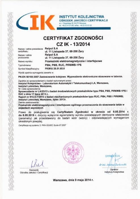 Instytut kolejnictwa - Certyfikat zgodności Relpol