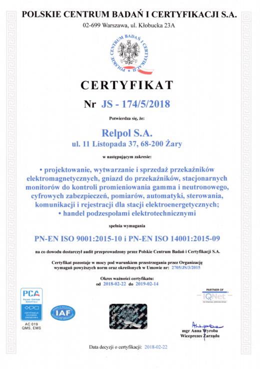 Certyfikat Zintegrowanego Systemu Zarządzania JAKOŚĆ I ŚRODOWISKO Relpol