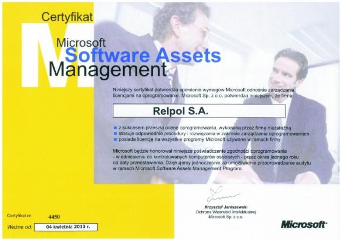 Certyfikat Microsoft dla firmy Relpol S.A.