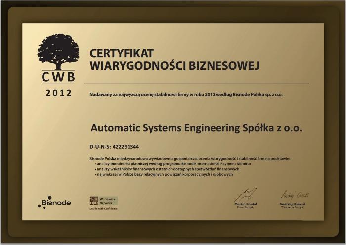 Certyfikat Wiarygodności Biznesowej dla firmy ASE, Automatic Systems Engineering