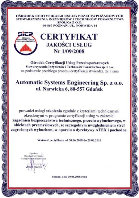 Certyfikat Jakości Usług Nr 1/09/2008 dla firmy ASE, Automatic Systems Engineering