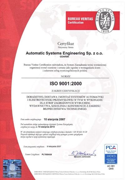 Certyfikowany system zapewnienia jakości ISO 9001 w firmie ASE, Automatic Systems Engineering