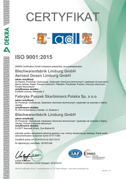 Certyfikat ISO 9001:2008 FPS Polska Sp. z o.o.