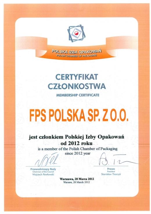 Certyfikat członkowstwa - Polska Izba Opakowań FPS Polska Sp. z o.o.