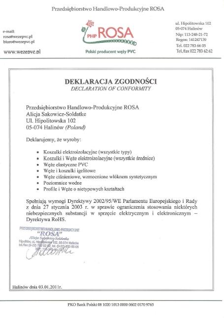 Deklaracja Zgodności Dyrektywy WE Rosa