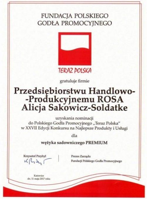 """Nominacja do Polskiego Godła Promocyjnego """"Teraz Polska"""""""