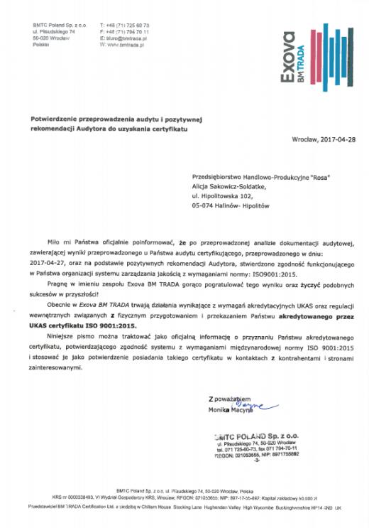 Potwierdzenie przyznania certyfikatu ISO 9001:2015