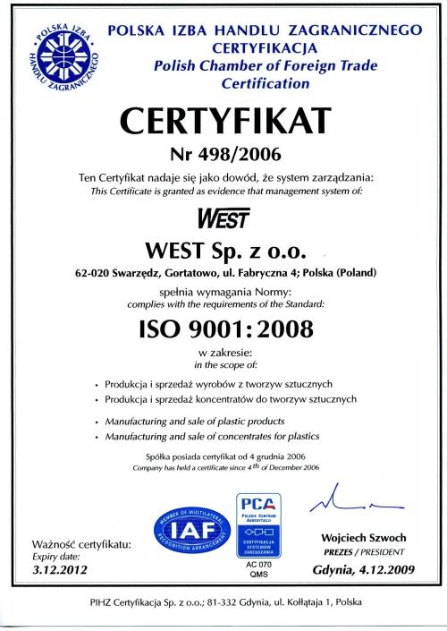 Certyfikat jakości ISO 9001:2008 firmy West