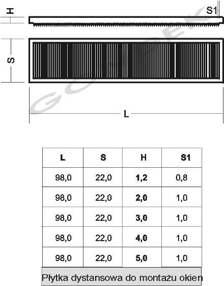 Wymiary: Podkładki dystansowe do okien L-98 mm Gondek