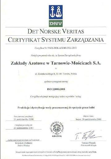 Certyfikat Systemu Zarządzania na zgodność z normą ISO 22000 : 2005 Grupy Azoty