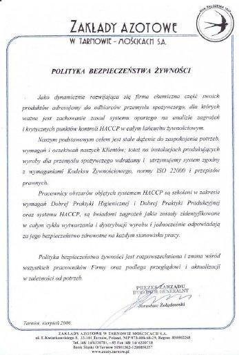 Polityka bezpieczeństwa Żywności Grupa Azoty
