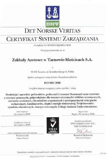 Certyfikat ISO 9001-2000 Grupy Azoty