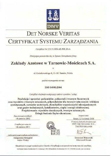 Certyfikat ISO14001- 2004 Grupa Azoty