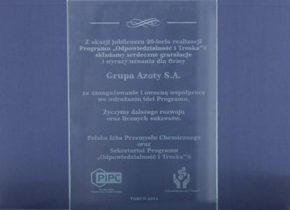 """tatuetka dwudziestolecia realizacji Programu """"Odpowiedzialność i Troska"""" dla Grupy Azoty S.A."""
