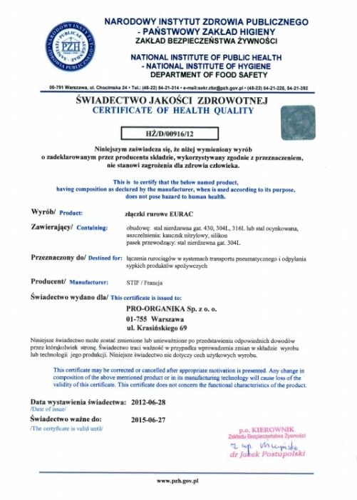 Świadectwo PZH firmy Proorganika