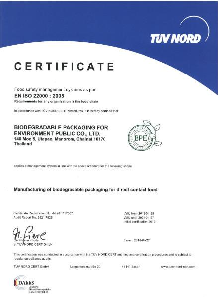 Certyfikat EN ISO 22000:2005