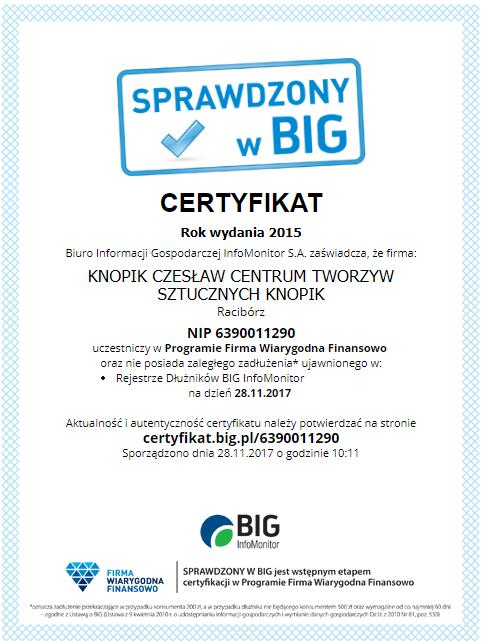 Certyfikat SPRAWDZONY w BIG Knopik