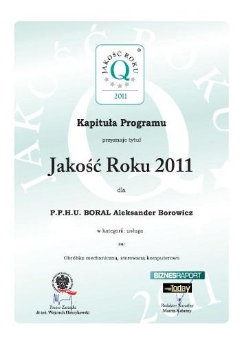 Jakość Roku 2011 dla firmy Boral