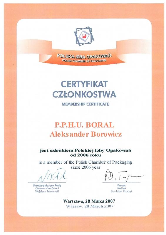 Certyfikat Członkostwa Polskiej Izby Opakowań dla firmy Boral