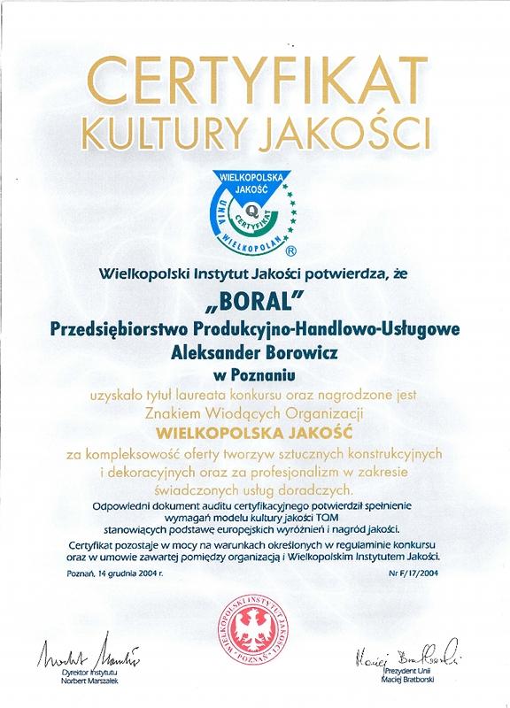 Certyfikat Kultury Jakości dla firmy Boral
