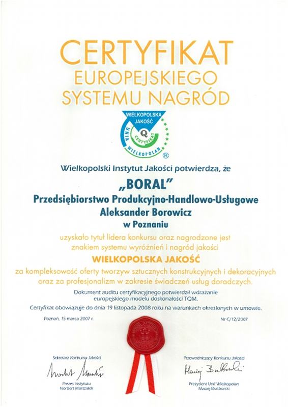 Certyfikat Europejskiego Systemu Nagród dla firmy Boral