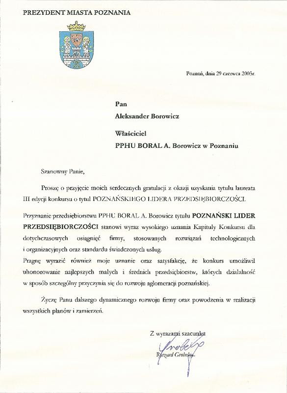 Gratulacje od Prezydenta Miasta Poznania dla firmy Boral