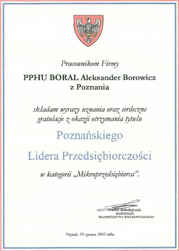 Gratulacje od Marszałka Województwa Wielkopolskiego dla firmy Boral