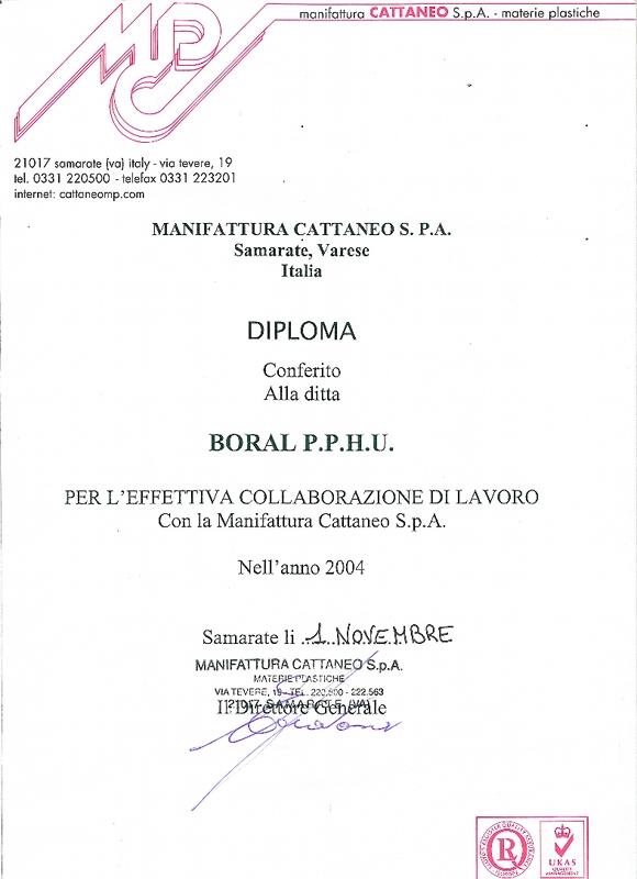 Dyplom manifattura Cattaneo S.P.A. dla firmy Boral
