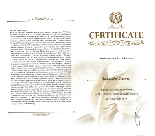 Certyfikat BPH - British Publishing House LTD dla Boral