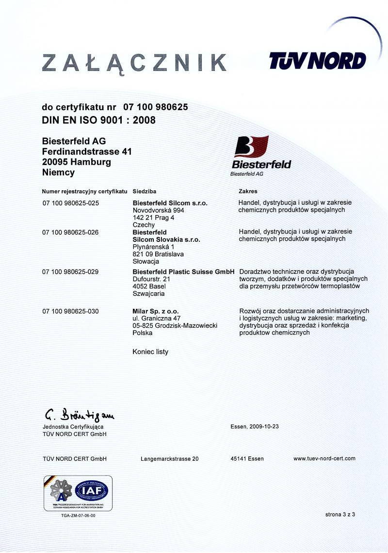 Załącznik do certyfikatu DIN EN ISO 9001:2008