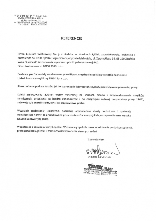 LEPOLAM - Referencje TINBY Sp. z o.o.
