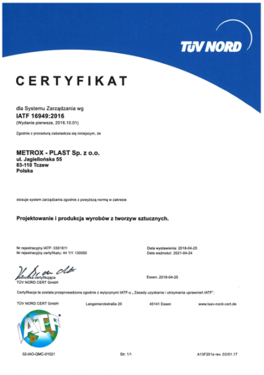 Certyfikat IATF 16949:2016