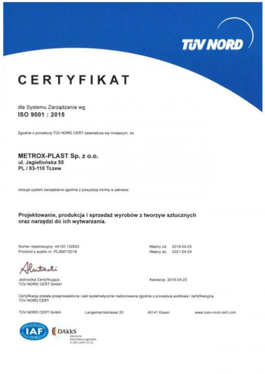 Certyfikat ISO 9001:2015