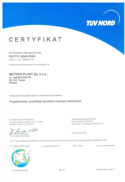 Certyfikat EN ISO 16949:2009 Metrox - Plast
