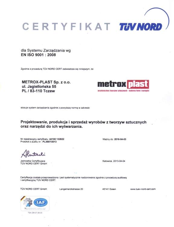 Certyfikat EN ISO 9001:2008 Metrox - Plast