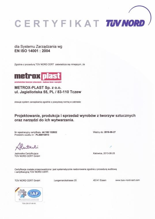 Certyfikat EN ISO 14001:2004 Metrox-Plast
