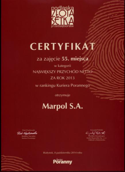 Podlaska Złota Setka Przedsiębiorstw za rok 2013 dla firmy Marpol