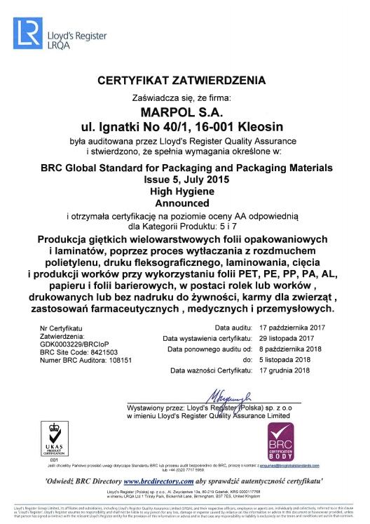 Certyfikat Zatwierdzenia: Produkcja giętkich wielowarstwowych folii opakowaniowych i laminatów (ważność: 2018-12-17)