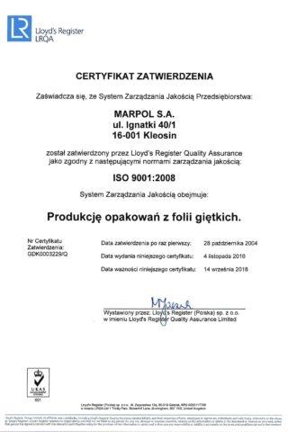 Certyfikat zatwierdzenia Systemu Zarządzania Jakością MARPOL