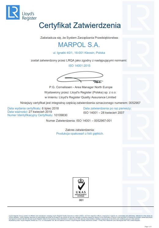 Certyfikat Zatwierdzenia: zgodny z normami ISO 14001:2015 (ważność: 2019-04-27)