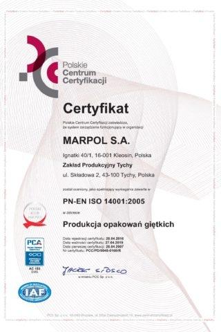 Certyfikat PN-EN ISO 14001:2005 MARPOL