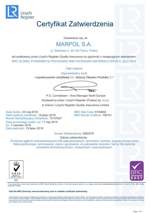 Certyfikat Zatwierdzenia: Poziom certyfikacji AA dotyczy obszaru Produktu 5,7