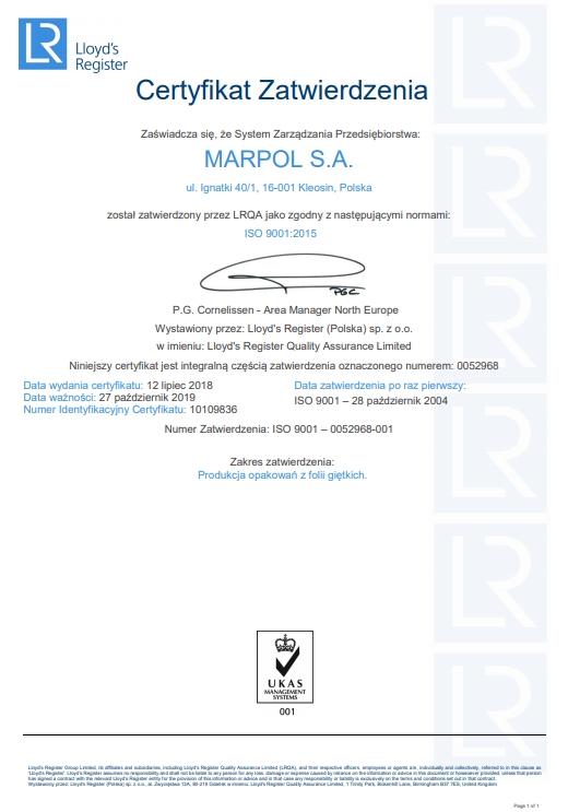 Certyfikat Zatwierdzenia: zgodny z normami ISO 9001:2015