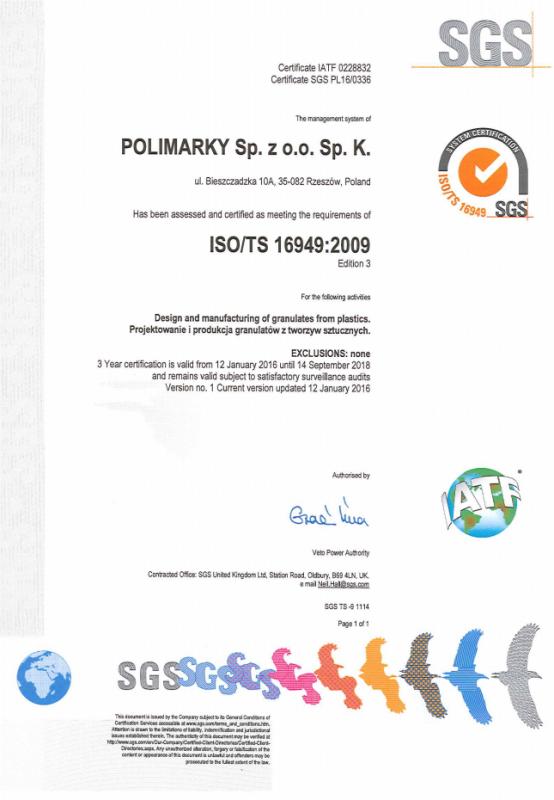 Certyfikat ISO/TS 16949:2009 Polimarky