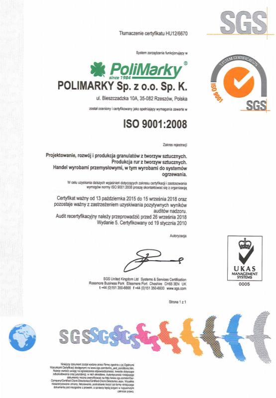 Certyfikat ISO 9001: 2008 dla firmy Polimarky