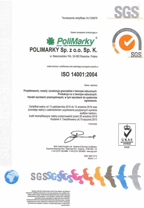 Certyfikat ISO 14001: 2004 dla firmy Polimarky