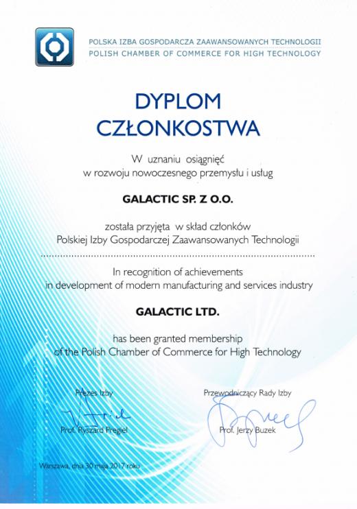Dyplom Członkostwa w Polskiej Izbie Gospodarczej Zaawansowanych Technologii