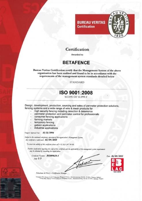 Certyfikat ISO 9001:2008 Betafence